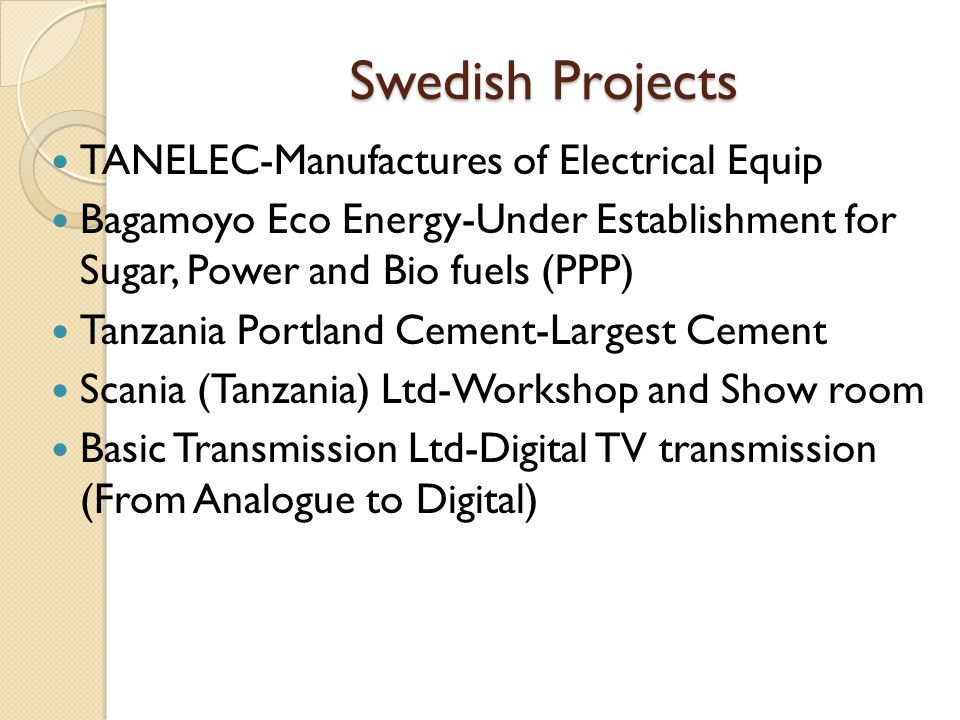 Swedish Projects TANELEC-Manufactures of Electrical Equip