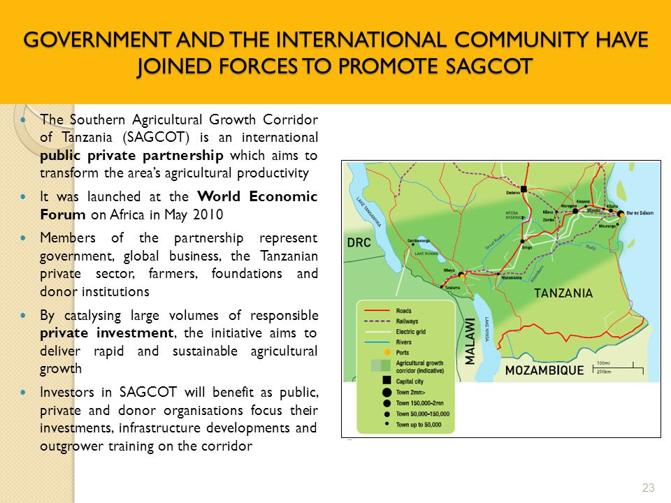GOVERNMENT AND THE INTERNATIONAL COMMUNITY HAVE JOINED FORCES TO PROMOTE SAGCOT