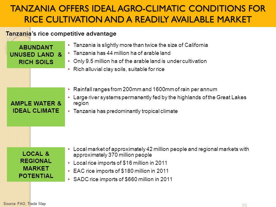 TANZANIA OFFERS IDEAL AGRO-CLIMATIC CONDITIONS FOR RICE CULTIVATION AND A READILY AVAILABLE MARKET
