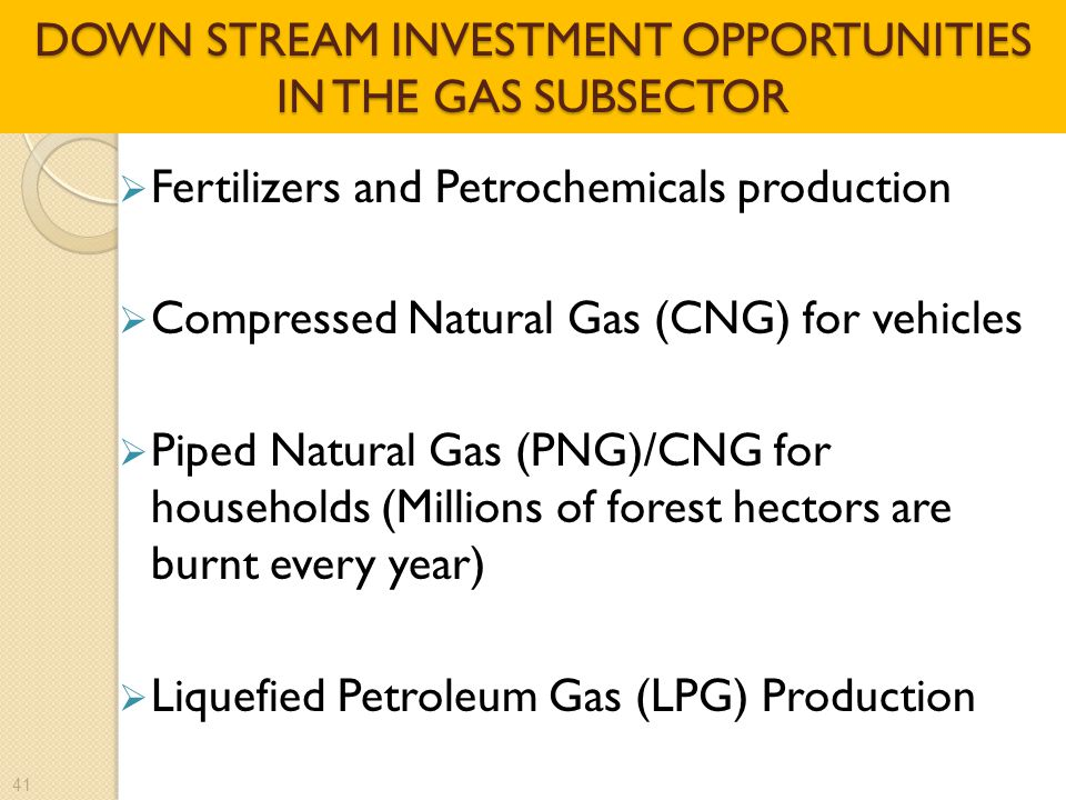 DOWN STREAM INVESTMENT OPPORTUNITIES IN THE GAS SUBSECTOR