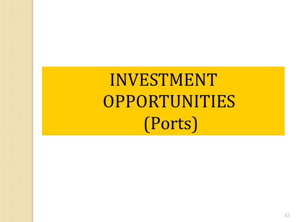 INVESTMENT OPPORTUNITIES (Ports)