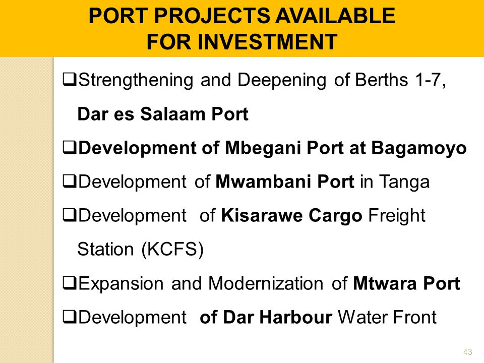 PORT PROJECTS AVAILABLE