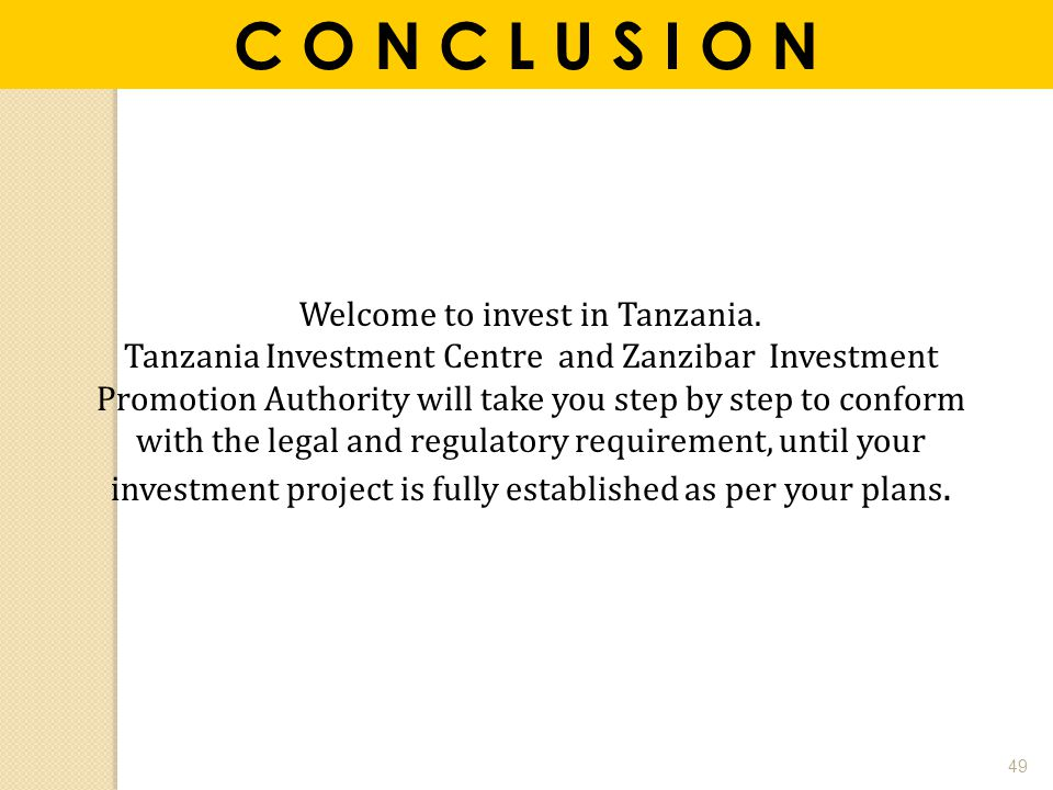 Welcome to invest in Tanzania.