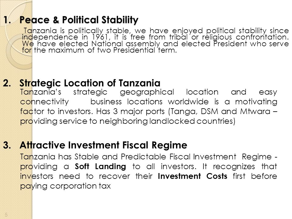 1. Peace & Political Stability