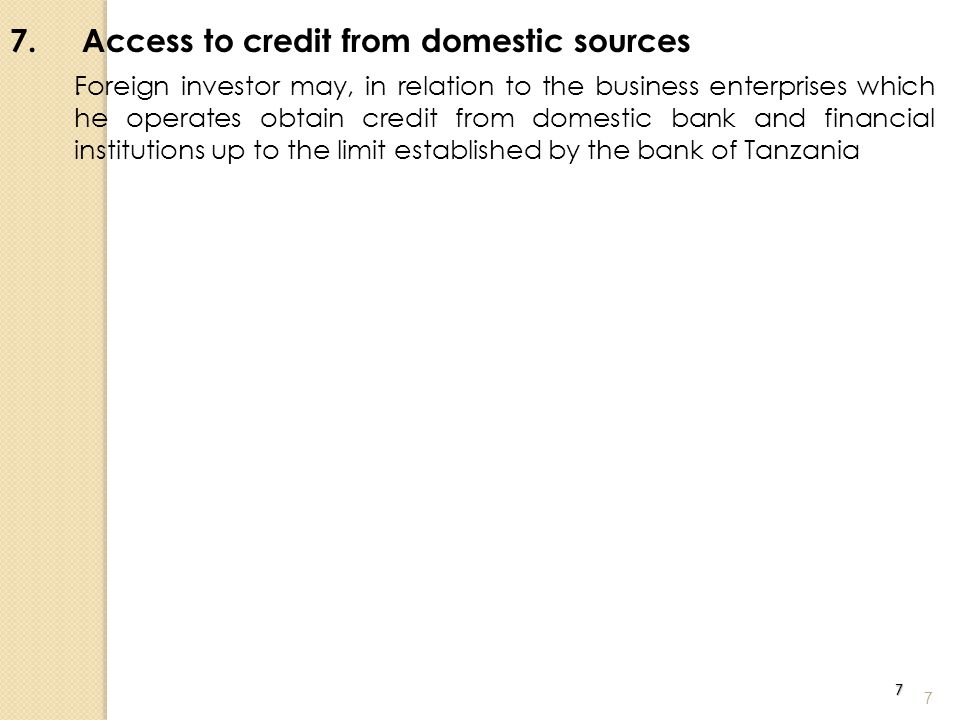 7. Access to credit from domestic sources