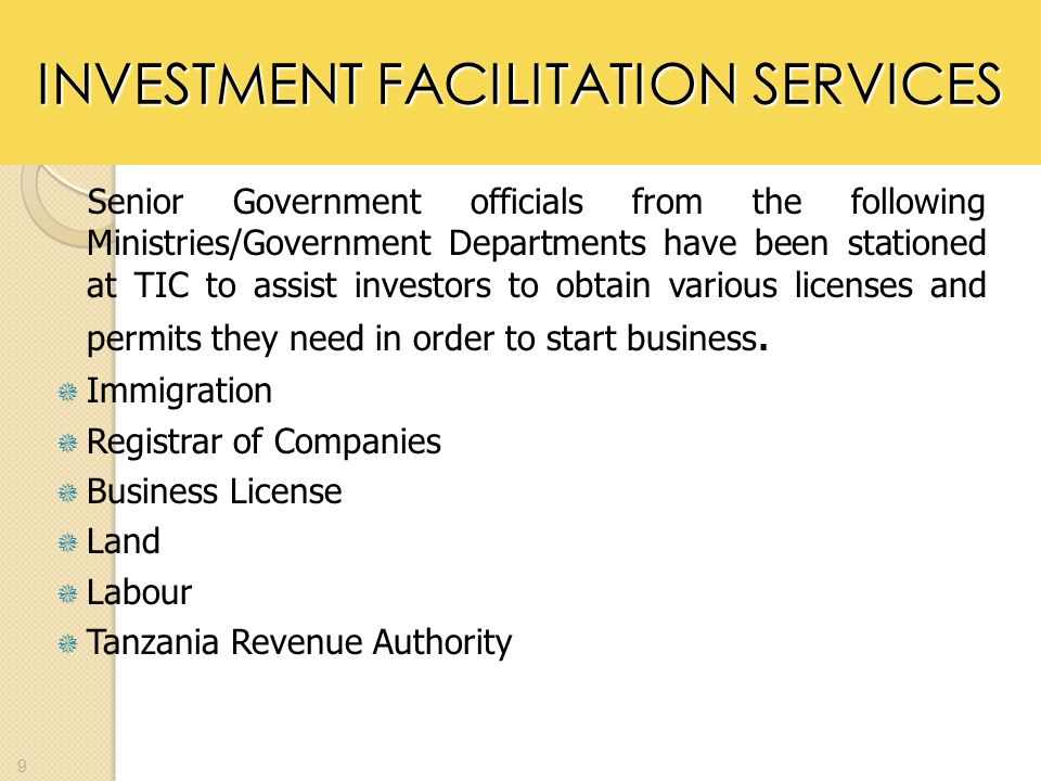 INVESTMENT FACILITATION SERVICES