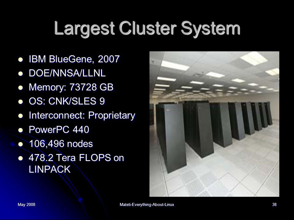 Largest Cluster System