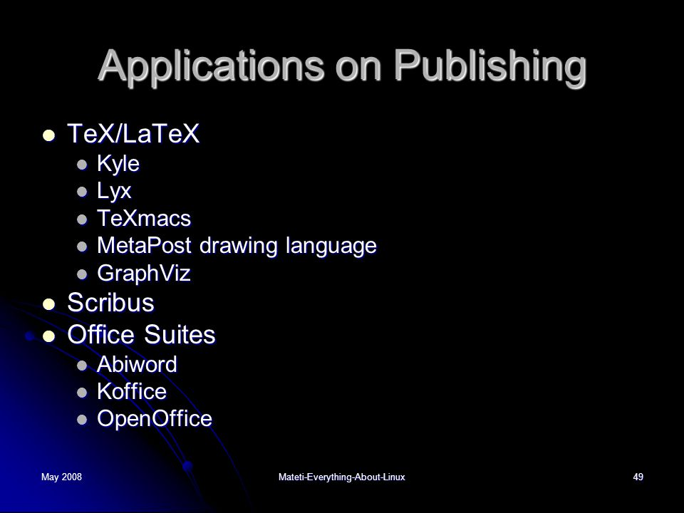 Applications on Publishing