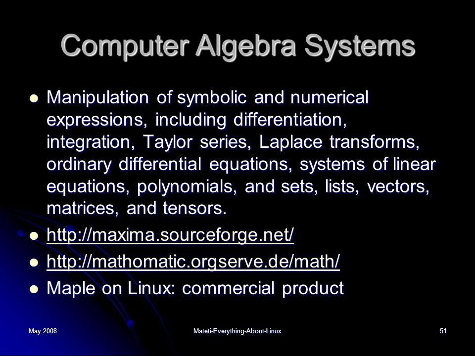 Computer Algebra Systems