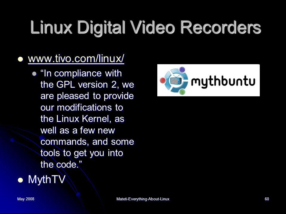 Linux Digital Video Recorders