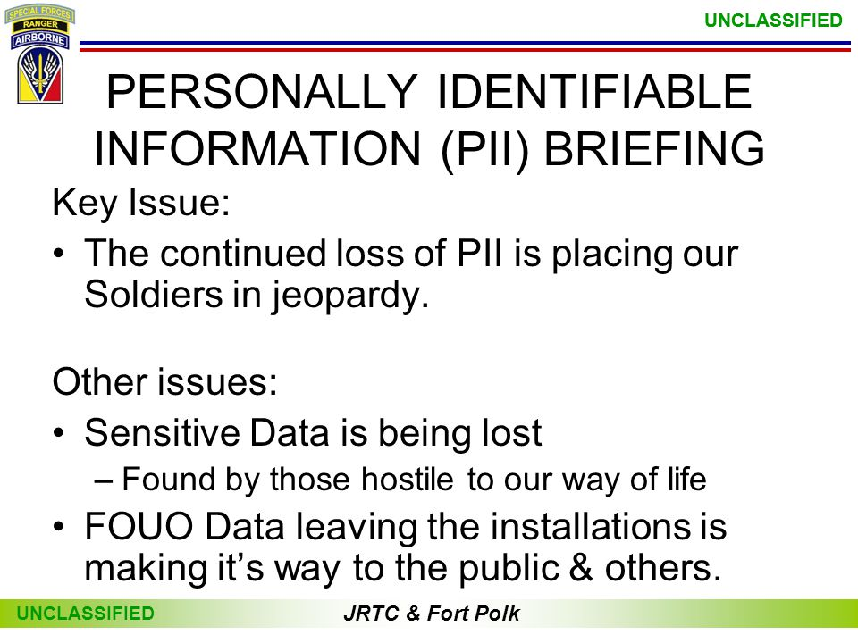 PERSONALLY IDENTIFIABLE INFORMATION (PII) BRIEFING