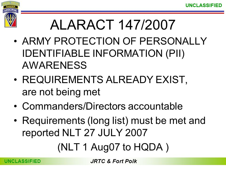 ALARACT 147/2007 ARMY PROTECTION OF PERSONALLY IDENTIFIABLE INFORMATION (PII) AWARENESS. REQUIREMENTS ALREADY EXIST, are not being met.