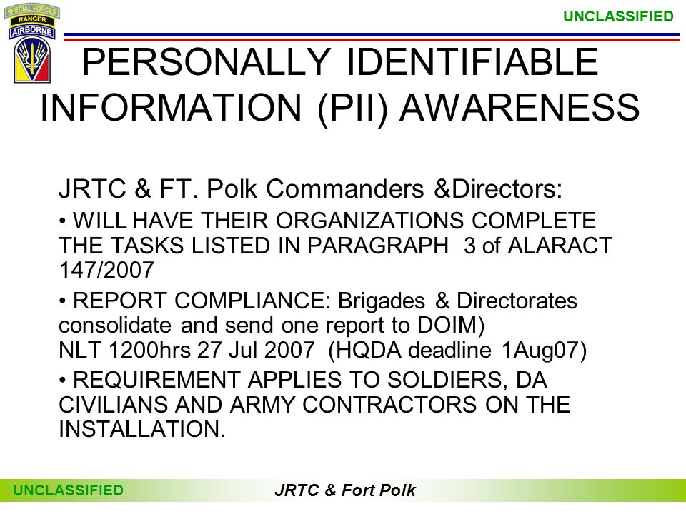 PERSONALLY IDENTIFIABLE INFORMATION (PII) AWARENESS