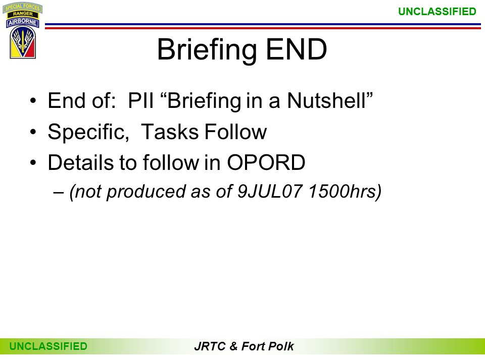 Briefing END End of: PII Briefing in a Nutshell