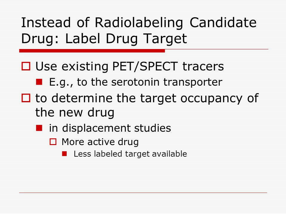 Instead of Radiolabeling Candidate Drug: Label Drug Target