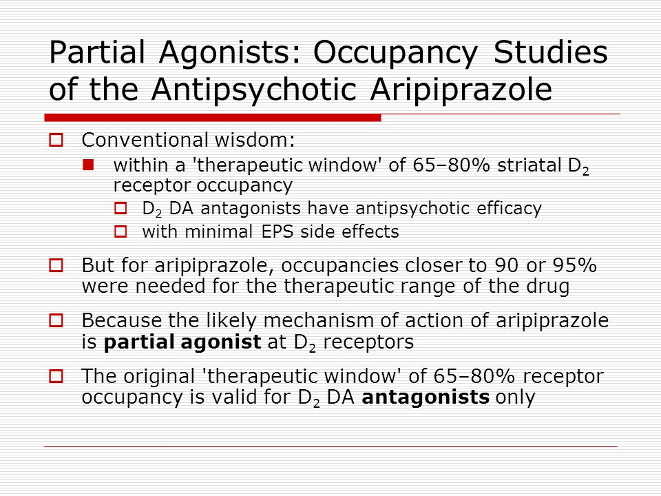 Partial Agonists: Occupancy Studies of the Antipsychotic Aripiprazole