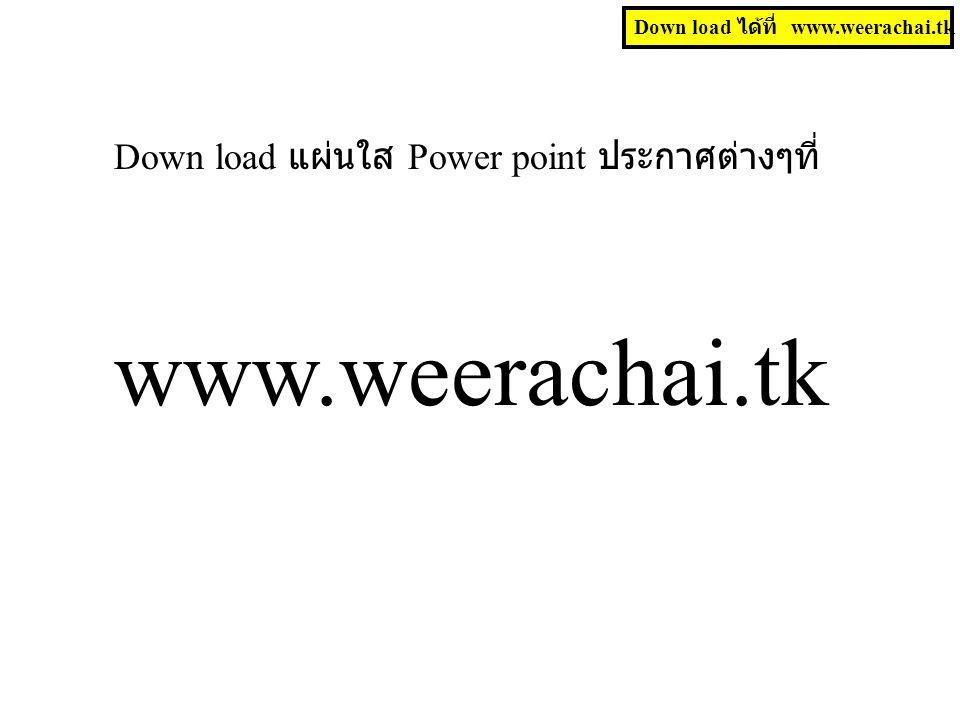 www.weerachai.tk Down load แผ่นใส Power point ประกาศต่างๆที่