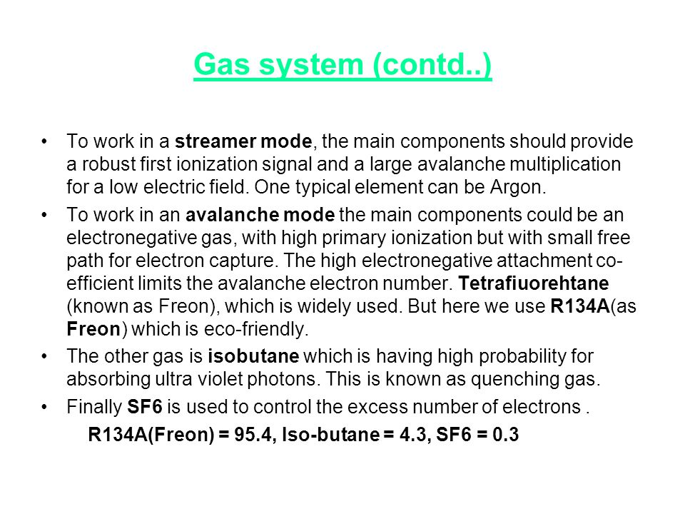 Gas system (contd..)‏