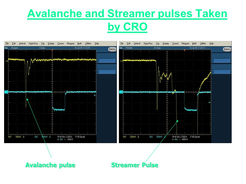 Avalanche and Streamer pulses Taken by CRO