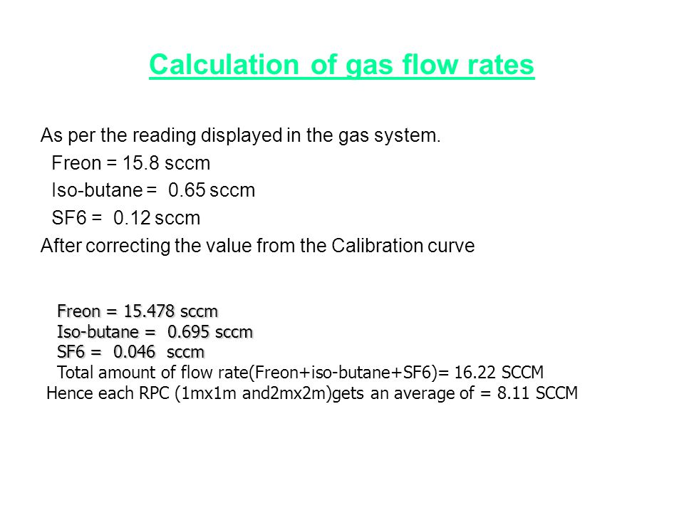 Calculation of gas flow rates