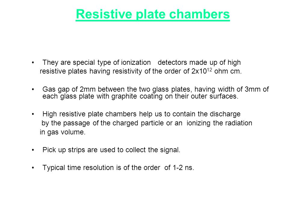 Resistive plate chambers