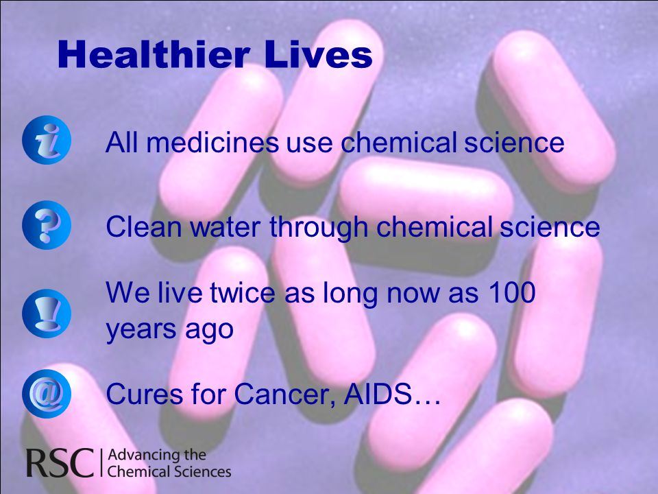 Healthier Lives i ! @ All medicines use chemical science