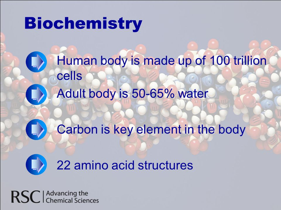 Biochemistry Human body is made up of 100 trillion cells