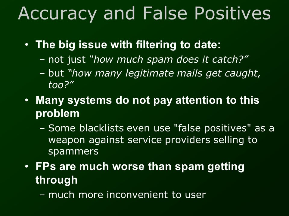 Accuracy and False Positives