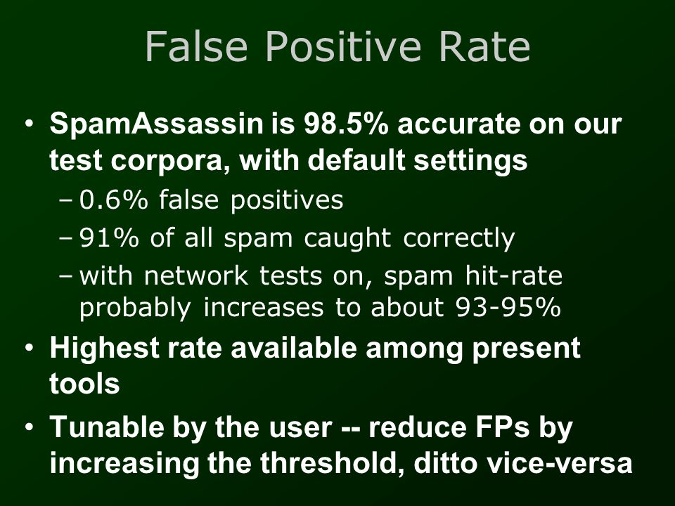 False Positive Rate SpamAssassin is 98.5% accurate on our test corpora, with default settings. 0.6% false positives.