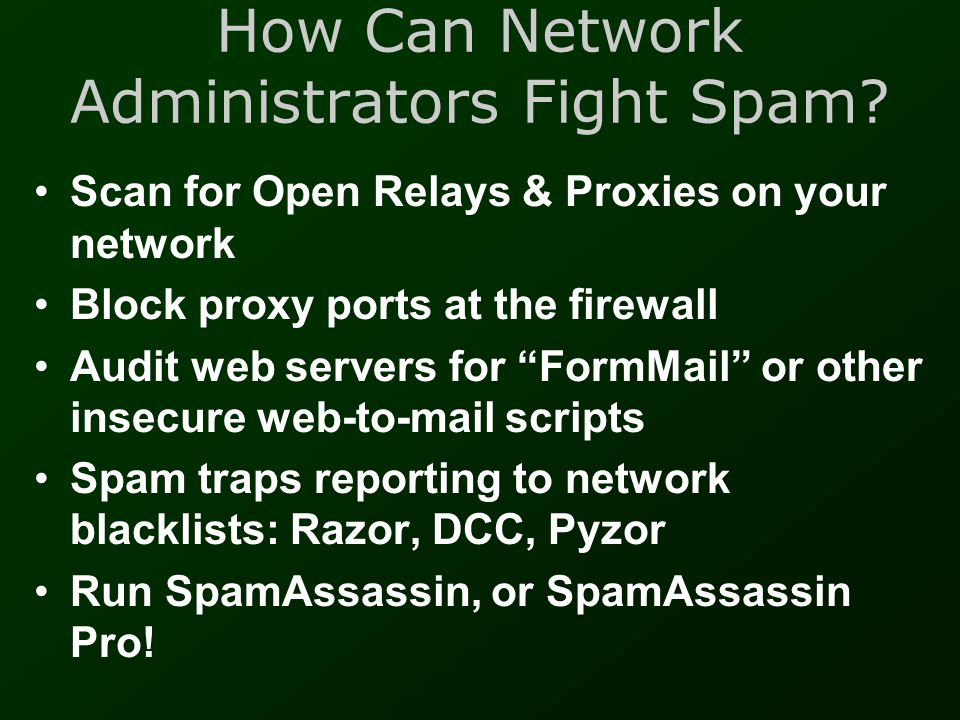 How Can Network Administrators Fight Spam