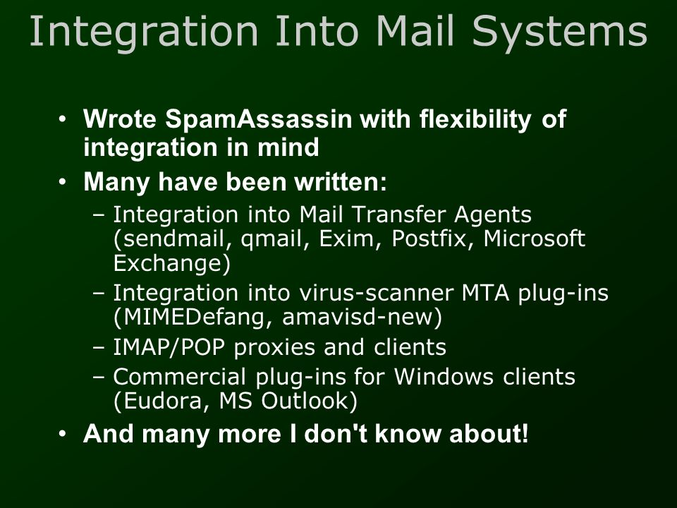 Integration Into Mail Systems