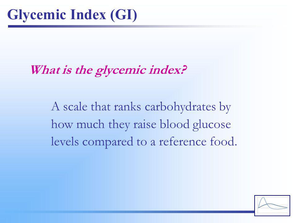 Glycemic Index (GI) What is the glycemic index