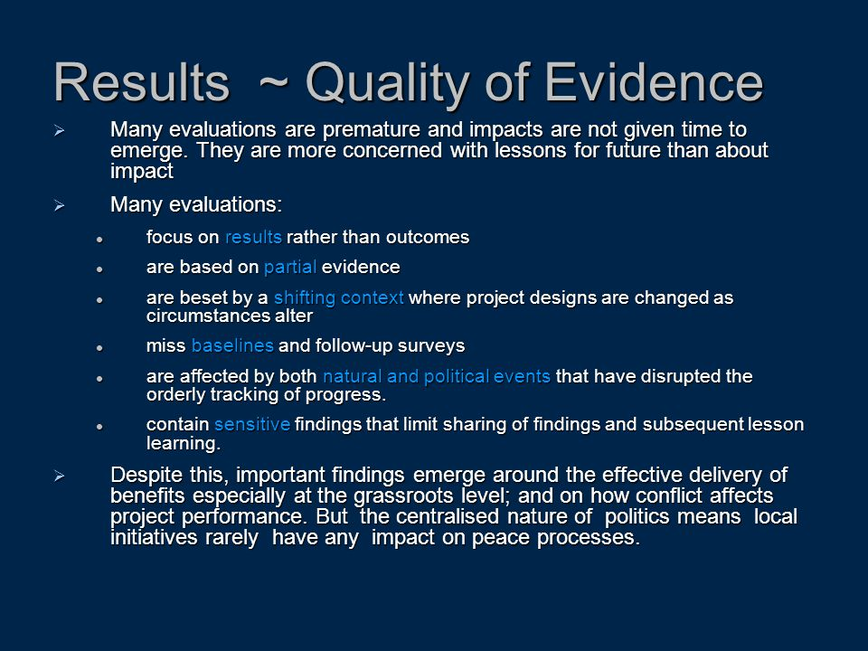 Results ~ Quality of Evidence