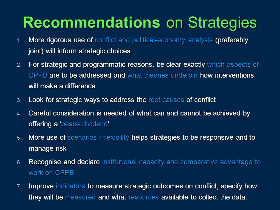 Recommendations on Strategies