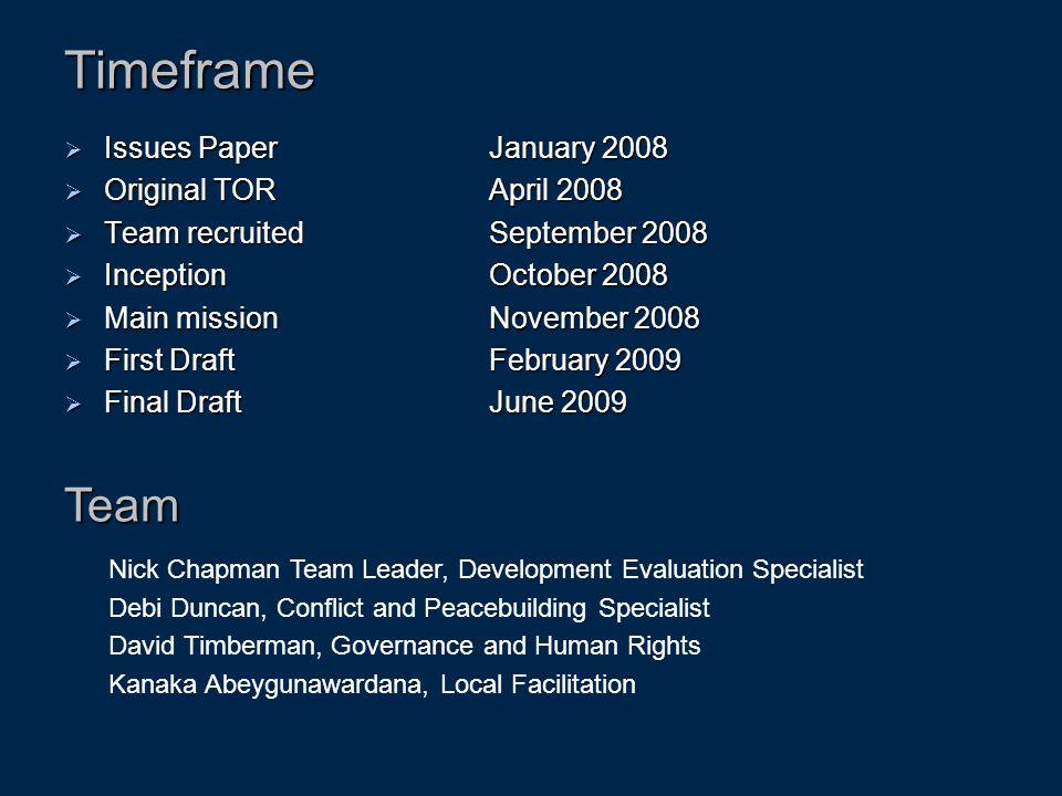 Timeframe Team Issues Paper January 2008 Original TOR April 2008