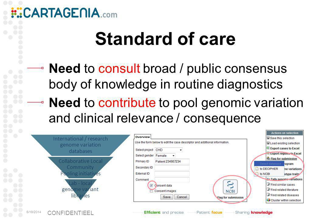 Standard of care Need to consult broad / public consensus body of knowledge in routine diagnostics.