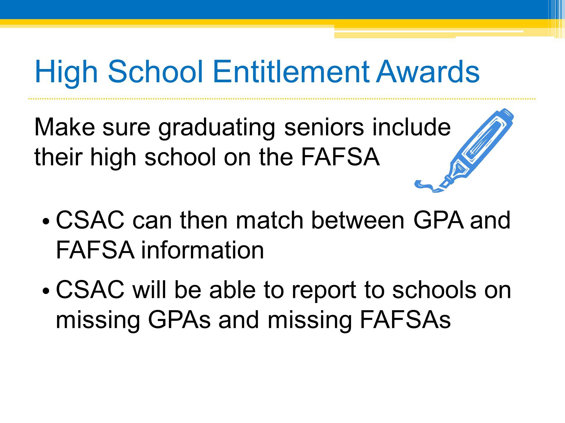 High School Entitlement Awards