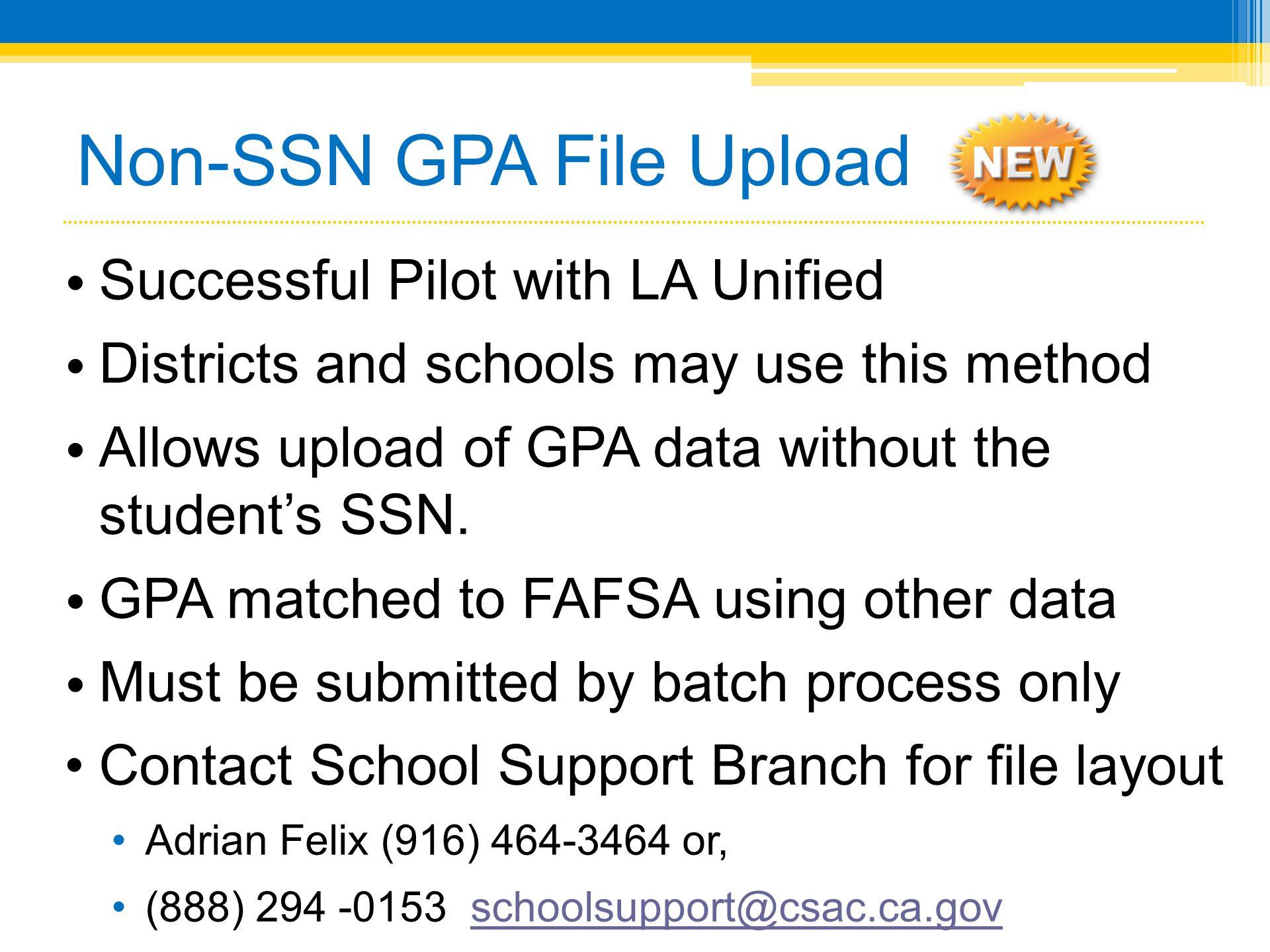 Non-SSN GPA File Upload