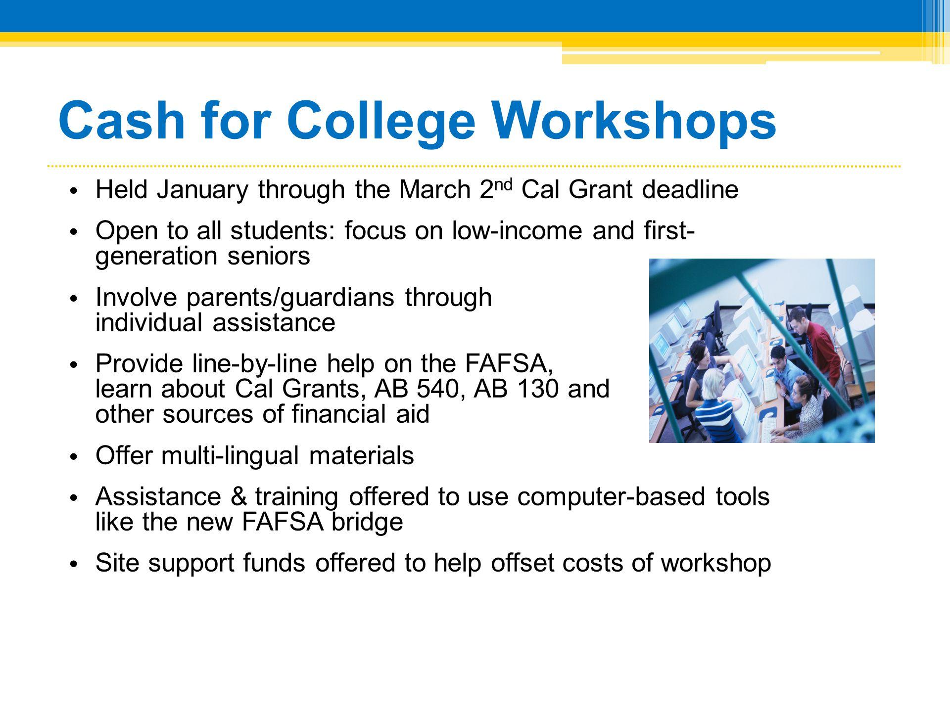 Cash for College Workshops