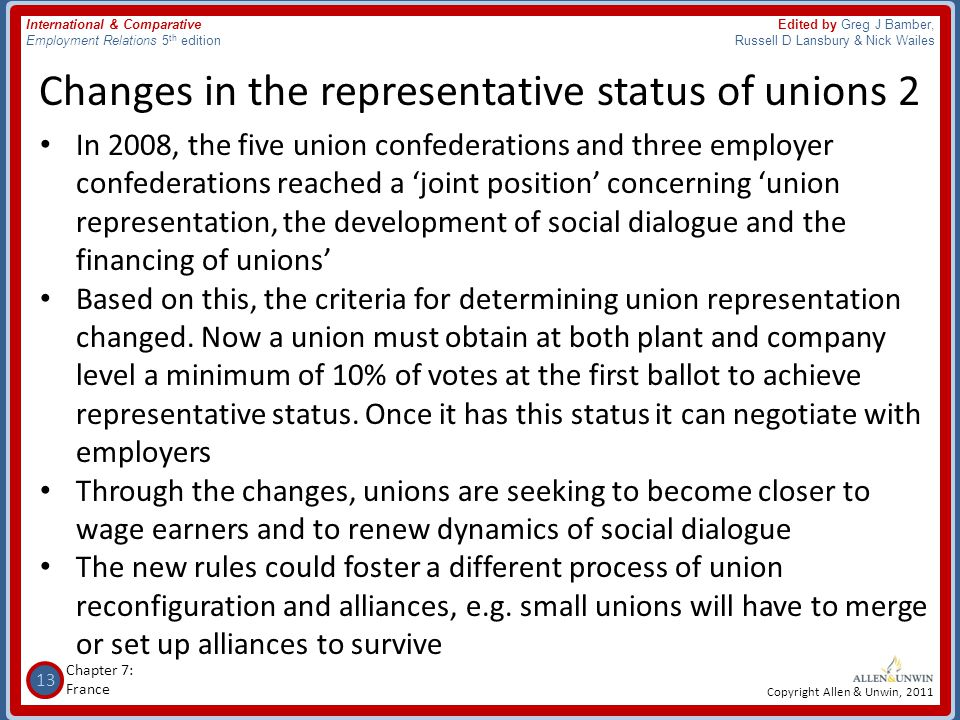 Changes in the representative status of unions 2