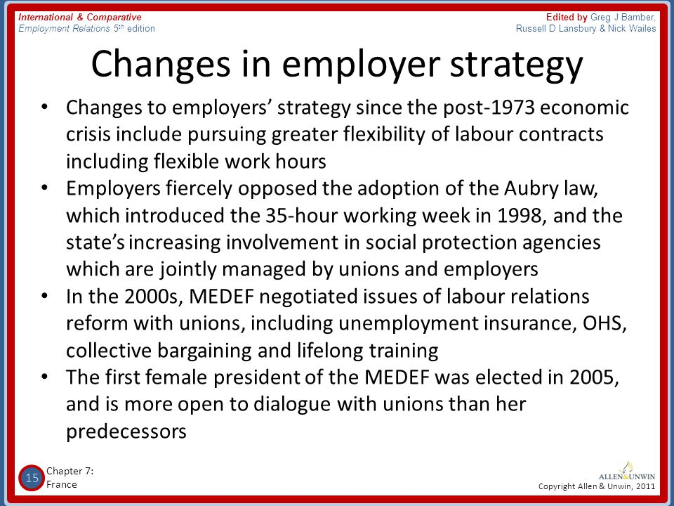 Changes in employer strategy