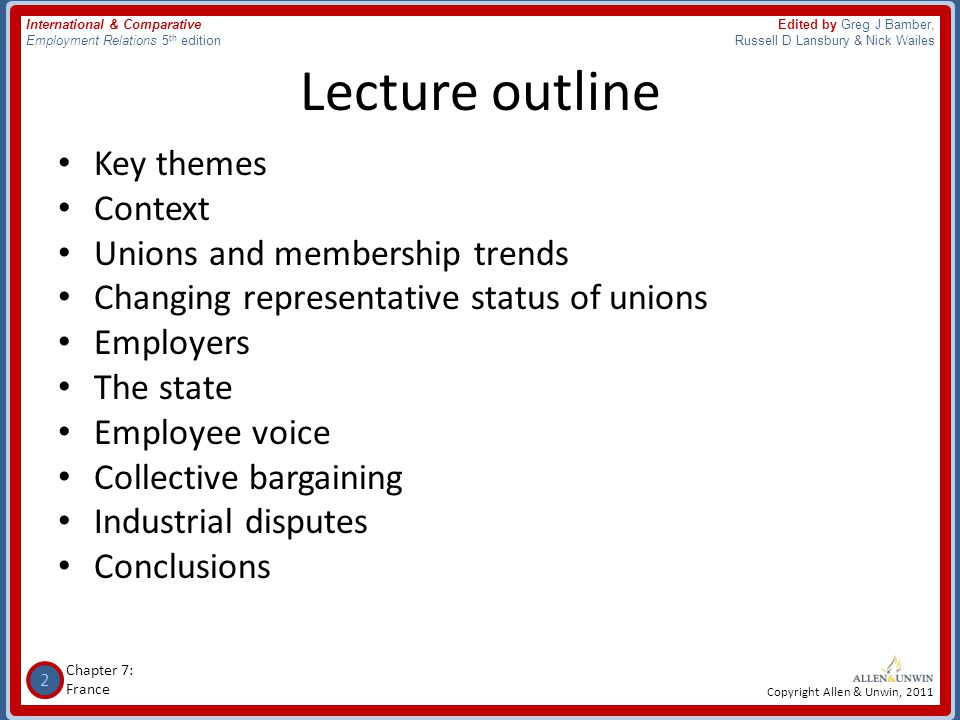 Lecture outline Key themes Context Unions and membership trends