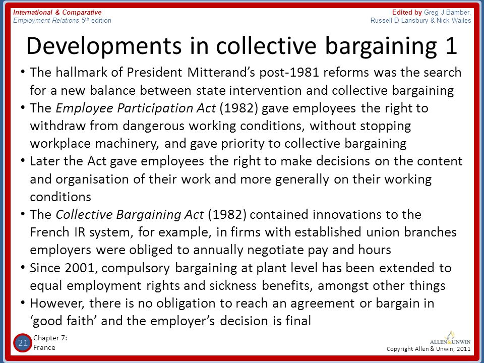Developments in collective bargaining 1