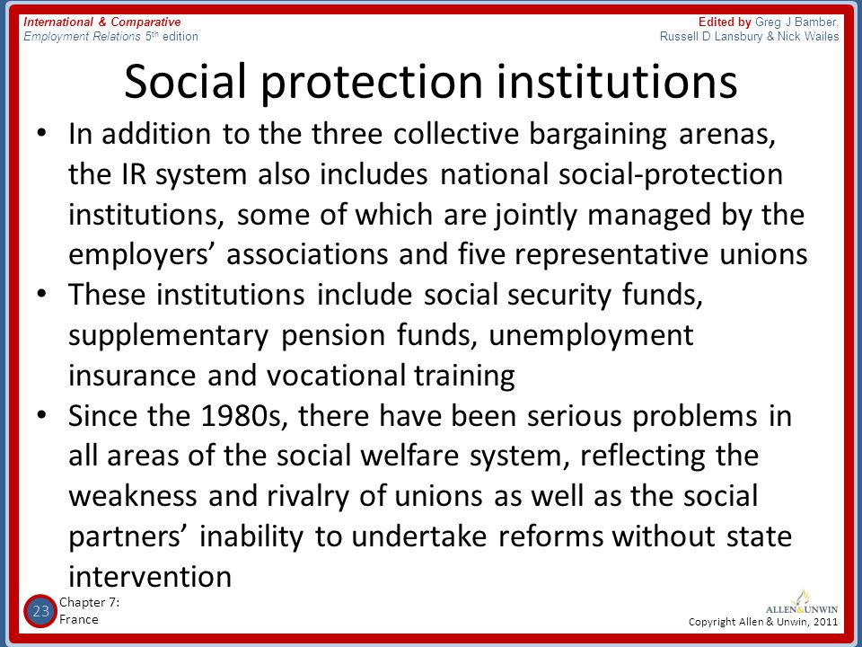 Social protection institutions