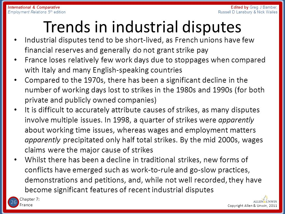 Trends in industrial disputes