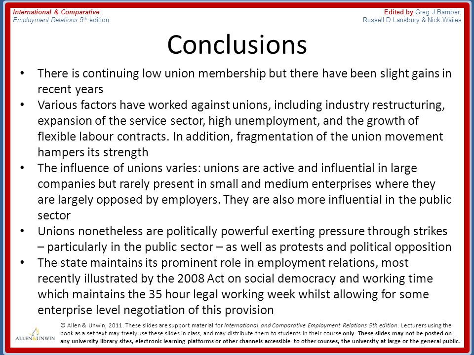 Conclusions There is continuing low union membership but there have been slight gains in recent years.