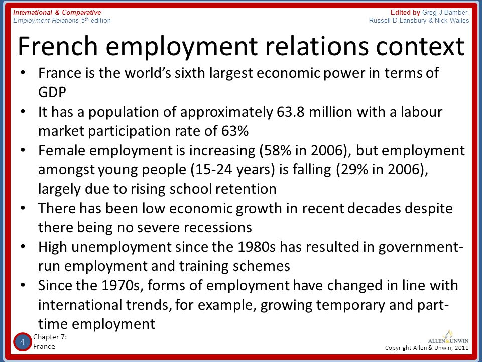 French employment relations context