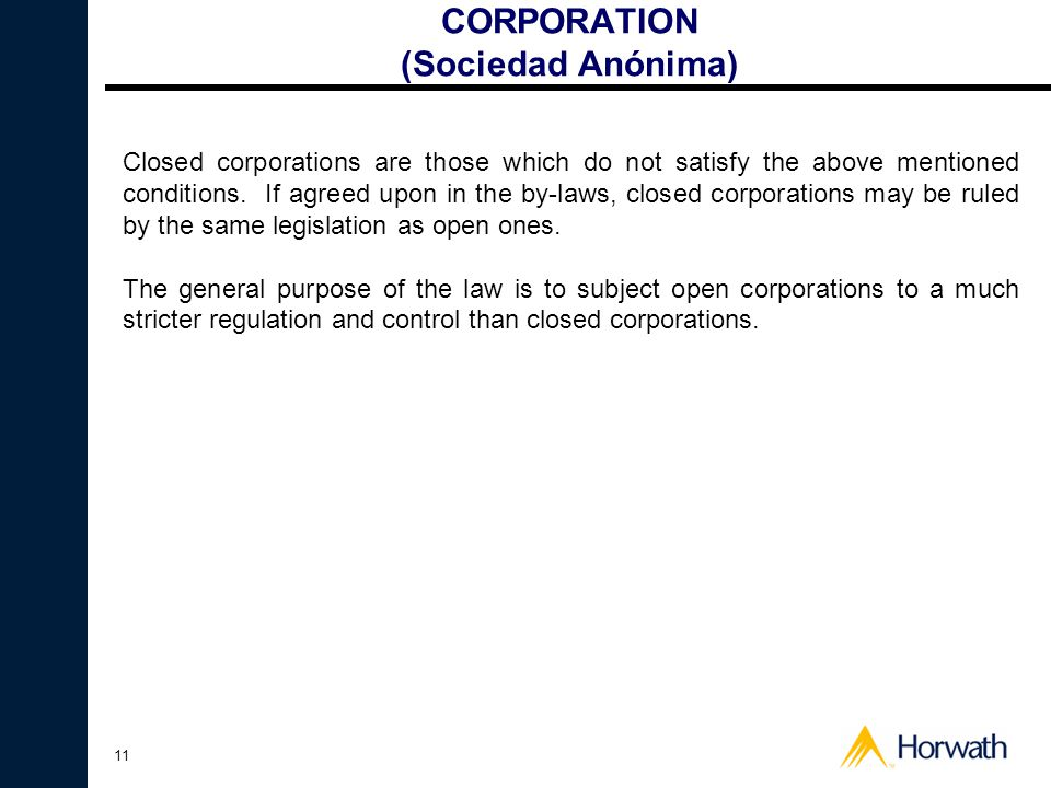 CORPORATION (Sociedad Anónima)