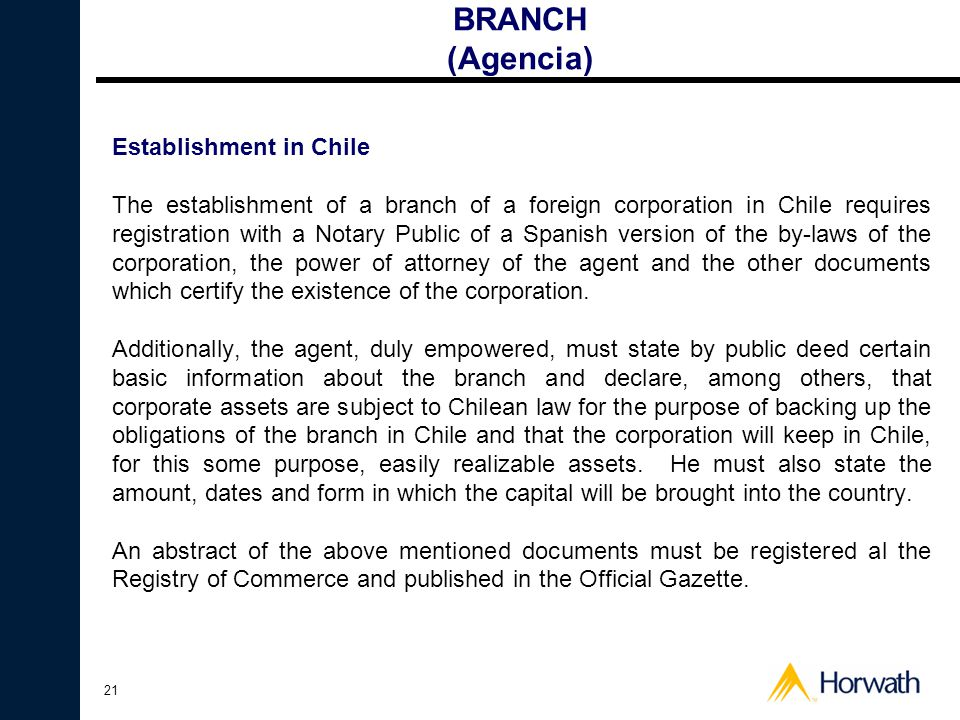 BRANCH (Agencia) Establishment in Chile