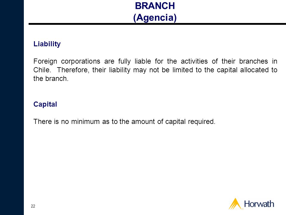 BRANCH (Agencia) Liability